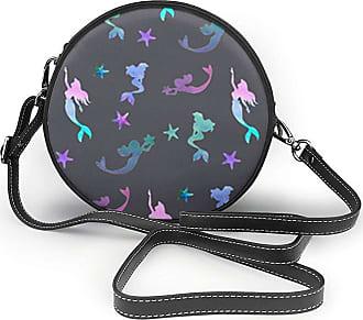 Turfed Colored Beautiful Mermaid Print Fashion Round PU Crossbody Handbag Round Shoulder Bag For Women Girls