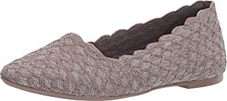 Skechers Womens Cleo-Scalloped Knit Skimmer Ballet Flat Dark Taupe 6.5 M US