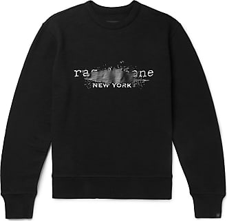 Rag & Bone Logo-print Mélange Loopback Cotton-jersey Sweatshirt - Black