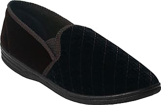 Zedzzz Mens Gents Twin Gusset Elastic Slip On Velour Faux Leather Slippers Size UK 7-14 (11 UK, Brown Velour)