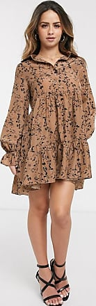 In The Style x Billie Faiers shirt detail pleated smock dress in taupe floral print-Multi
