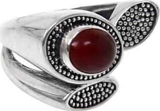 Novica Carnelian cocktail ring, Red Lotus