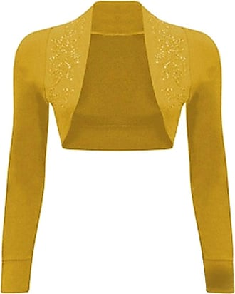 Islander Fashions Womens Long Sleeves Sequin Beaded Bolero Shrug Mustard Medim-Large