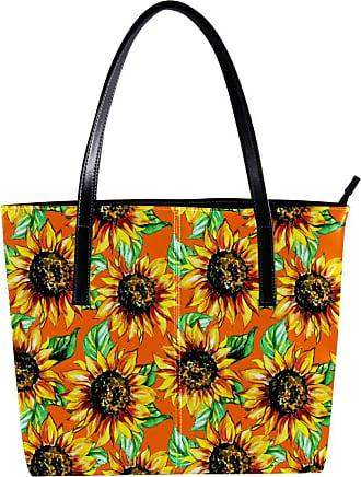 Nananma Womens Bag Shoulder Tote handbag with Oil Painting Sunflower Print Zipper Purse PU Leather Top-handle Zip Bags
