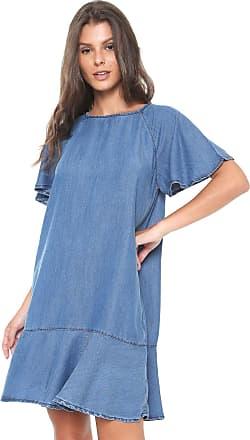 Enna Vestido Jeans Enna Curto Evasê Azul