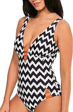 Figleaves Womens Juno Luxe Swimsuit Size 16 Regular in Black/White/Orange