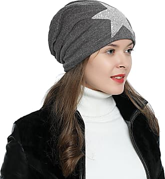 DonDon Womens Jersey Slouch Beanie with Sequins Star Soft and Suitable for Heads Grey