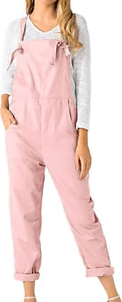 Kobay Women Playsuit Pants, Loose Dungarees Loose Long Pockets Rompers Jumpsuit Trousers Pink