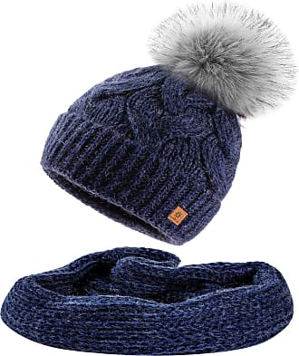 morefaz Set Scarf & Hat Mohair Wool Women Winter Beanie Hat Worm Neck Knitted Hats Fleece Pom Pom (Nave Set Hat&Scarf)