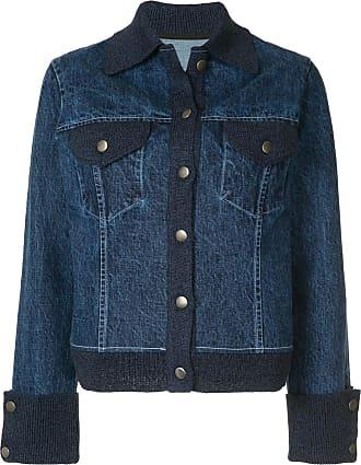 Onefifteen knitted trim denim jacket - Blue