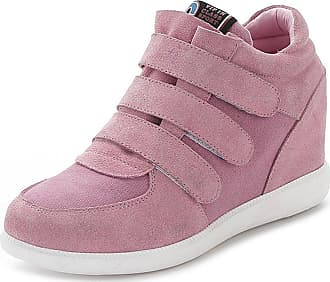 Jamron Womens Fashion Hidden Heel Wedge Sneakers Elevator Shoes Comfortable Suede&Fabric Trainers Pink 5516 UK5.5