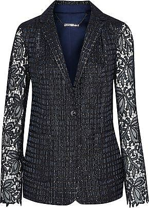 Elie Tahari Elie Tahari Woman Rooney Metallic Guipure Lace-paneled Jacquard Blazer Navy Size 2