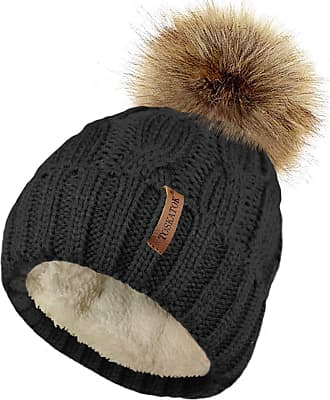 TOSKATOK Ladies Chunky Soft Cable Knit hat with Cosy Fleece Liner and Detachable Faux Fur Pompom-Black