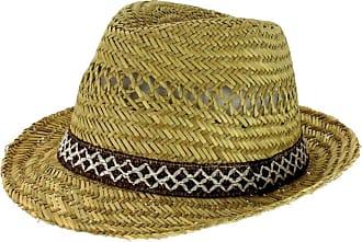 Hawkins Straw Trilby Hat with Brown/Cream Woven Trim (59cm)