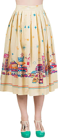 Banned Dancing Days Yellow Retro Drive Thru 1950s Vintage Pinup Flared Swing Skirt 18 XXL