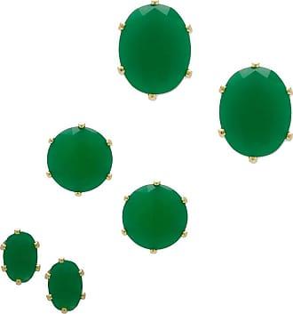 Renata Rancan Trio 3 Pares de Brincos Pequenos com Zircônia Banho em Ouro 18K - Verde