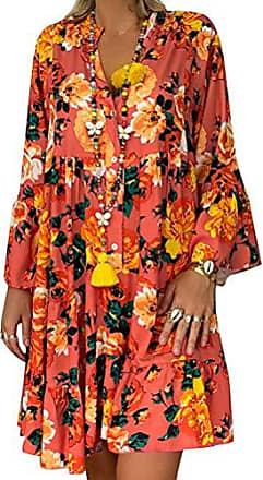 Sommerkleid Damen V-Ausschnitt Glockenärmel Bohemien Strand Blumen Minikleid