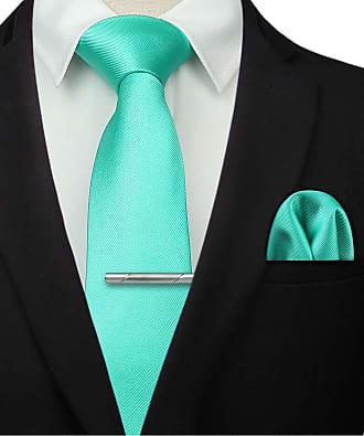 Hisdern Mens Solid Aqua Tie Clip Handkerchief Wedding Party Classic Necktie & Pocket Square Set