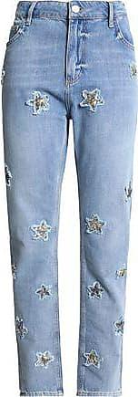 Zoe Karssen Zoe Karssen Woman Appliquéd Distressed High-rise Staight-leg Jeans Light Denim Size 25