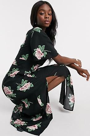 Miss Selfridge angel sleeve maxi dress in black floral print