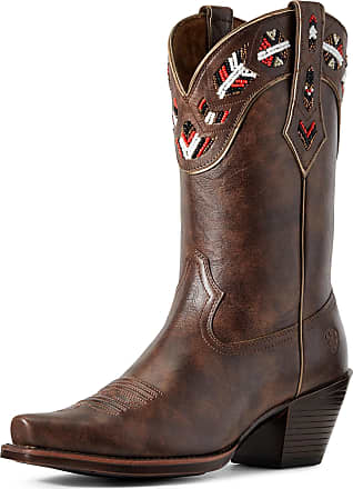 Ariat Womens Frontera Western Boots in Brown Crunch Leather, B Medium Width, Size 3.5, by Ariat