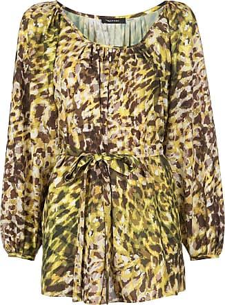 Natori Túnica com estampa de leopardo e amarração na cintura - Amarelo