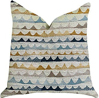 Plutus Brands Caspian Rush Patterned Double Sided Luxury Throw Pillow 26 x 26 Brown/Blue/Grey