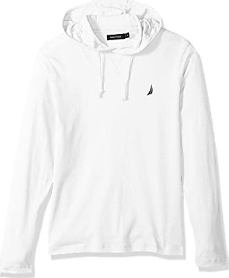 Nautica Mens Long Sleeve Classic Fit Jersey Hoodie Tshirt, Bright White, Small