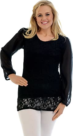Nouvelle Collection Chiffon Sleeve Lace Top Black 22-24