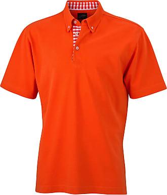 James & Nicholson Mens Short SleevePolo Shirt - Multicoloured - Dark Orange/Dark Orange/White - Small