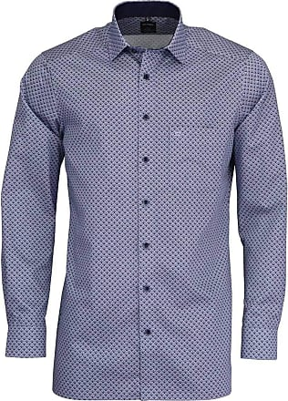 Olymp Luxor Modern Fit Shell Print Long Sleeve Shirt - Blue/White 16 (41cm) Blue/White