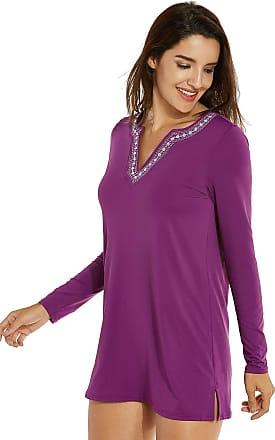 Delimira Womens Loose-fit Long Sleeves UV Beachwear Swimsuit Cover Up Dark Purple 14