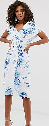 Asos Tall ASOS DESIGN Tall - Midi-Bleistiftkleid in Blau geblümt mit Schnürung und abfallender Schulterpartie-Mehrfarbig