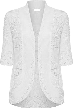 ZEE FASHION Women Ladies Knitted Bolero Crochet Shrug Open Cardigan Plus Size UK 8-30 White