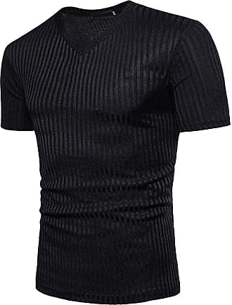 NPRADLA Cheapest Summer 100 Cotton Party Beach Fashion Men Blouse Short Sleeve Fit Pollover Shirt V-Neck Causal Top Striped T-Shirts Black