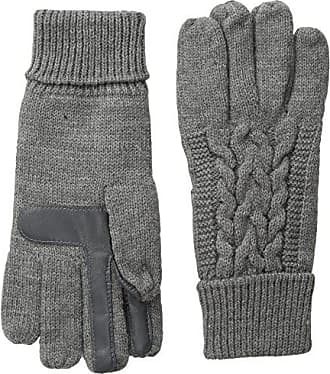 Isotoner Womens Smartouch Solid Triple Cable Knit Palm Glove with Palm Patches, Oxford Heather, One Size