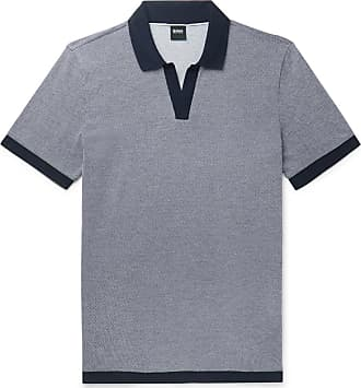 fdee6e812 HUGO BOSS Textured-knit Cotton Polo Shirt - Navy