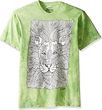 The Mountain Mens Big and Tall Colorwear Animals 7 Lion Adult Coloring T-Shirt, Green, 4XL