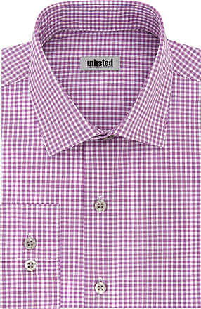 Unlisted by Kenneth Cole mensDress Shirt Slim Fit Checks and Stripes (Patterned) Spread Collar Long Sleeve Dress Shirt - red - 16-16.5 Neck 34-35 Sleeve (Large)