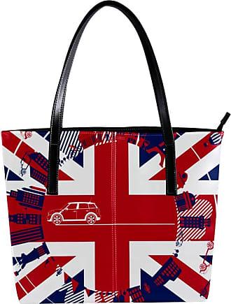 Nananma Womens Bag Shoulder Tote handbag with London Silhouette Print Zipper Purse PU Leather Top-handle Zip Bags