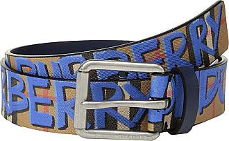 dad0d5761af5 Burberry Mark Printed Vintage Check Leather Belt (Canvas Blue Antique  Yellow) Mens Belts