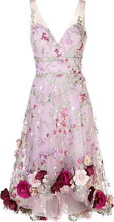 Marchesa floral-appliqué embroidered sleeveless dress - PURPLE