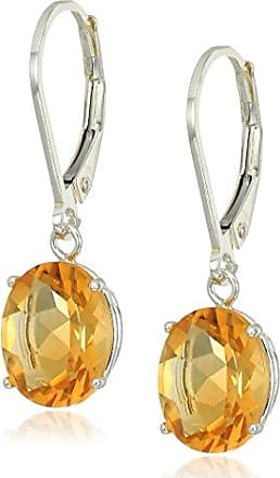 Amazon Collection Sterling Silver Oval Citrine Dangle Earrings