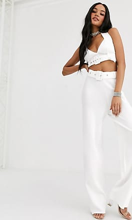 4th & Reckless knitted wide leg trouser with belt detail in white