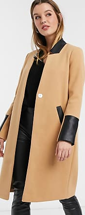 River Island collarless coat in camel-Tan