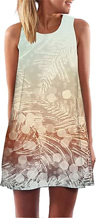 Ocean Plus Womens Summer Casual Top Flamingo A-Line Sleeveless Dresses Leaves Cover-up Western Without Sleeves Beach Dress Party Dress (XL (EU 40-42), Frozen Lea