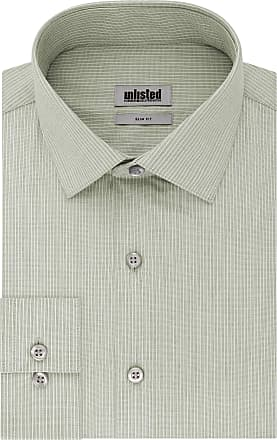 Unlisted by Kenneth Cole Mens Slim Fit Stripe Spread Collar Dress Shirt, Ash Green, 14-14.5 Neck 32-33 Sleeve (Small)
