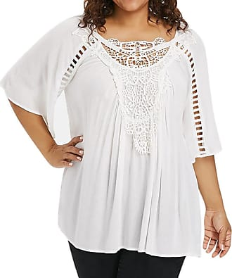 Kobay Women Tops, Ladies Plus Size Solid Lace Three Quarter Sleeve Blouse Pullover Shirt White