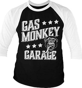 Gas Monkey Garage Officially Licensed Monkeystars Baseball 3/4 Sleeve T-Shirt (White-Black), XXL