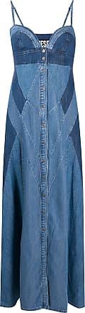 Diesel Vestido jeans longo com recorte contrastante - Azul